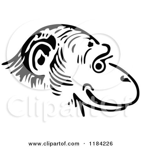 Monkey Face Clip Art Black And White Images & Pictures - Becuo
