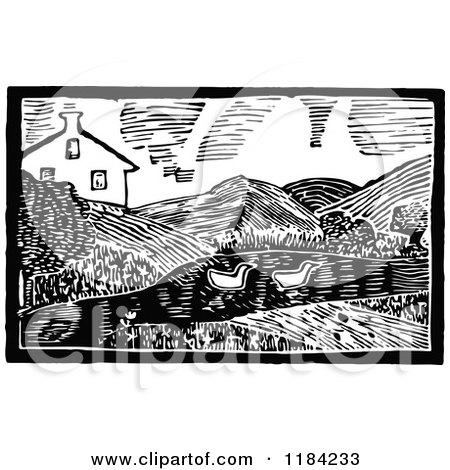 Retro Vintage Black and White John Gilpin Farm Posters, Art Prints