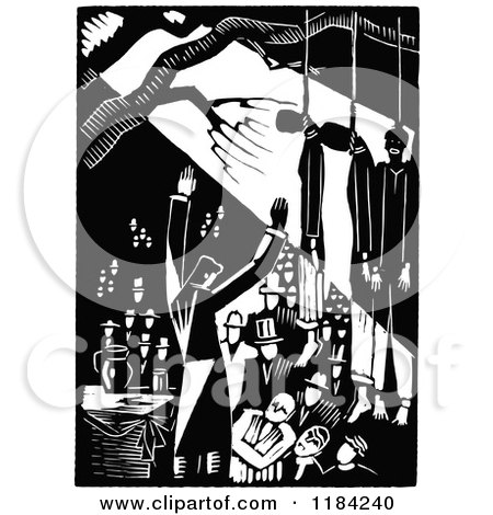 Clipart of Retro Vintage Black and White People Debating Under Hanged People - Royalty Free Vector Illustration by Prawny Vintage