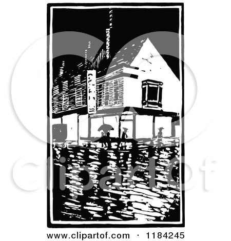 Clipart of a Retro Vintage Black and White Rainy Village - Royalty Free Vector Illustration by Prawny Vintage