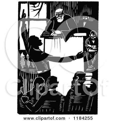 Clipart of a Retro Vintage Black and White Man Pleading the Case - Royalty Free Vector Illustration by Prawny Vintage