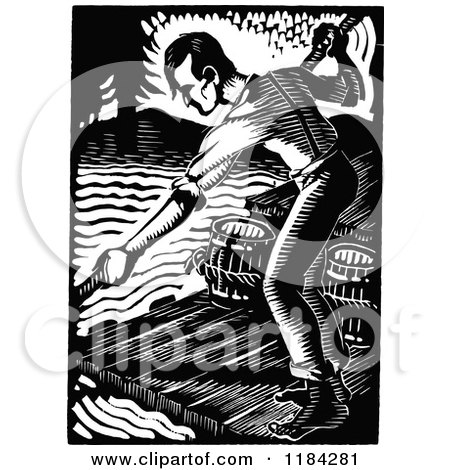 Clipart of a Retro Vintage Black and White Man on a River Raft - Royalty Free Vector Illustration by Prawny Vintage