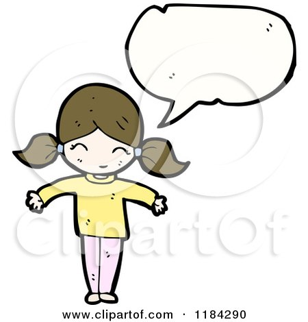 Cartoon of a Girl in Pigtails Speaking - Royalty Free Vector Illustration by lineartestpilot