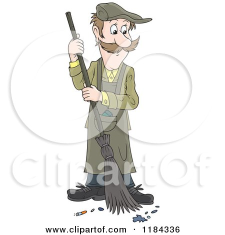 Cartoon of a Man Sweeping up Ashes and a Cigarette Butt - Royalty Free Vector Clipart by Alex Bannykh
