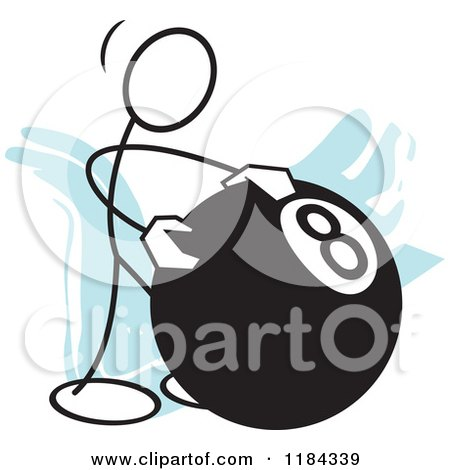 Cartoon of a Stickler Man Behind the Eight Ball over Blue - Royalty Free Vector Clipart by Johnny Sajem
