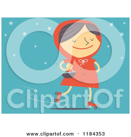 Cartoon of a Retro Styled Red Riding Hood Roller Skating Oer Blue - Royalty Free Vector Clipart by Qiun