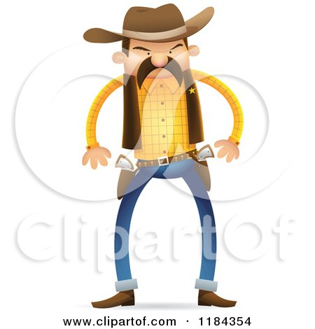 Cartoon of a Wild West Sheriff Ready to Draw His Guns - Royalty Free Vector Clipart by Qiun