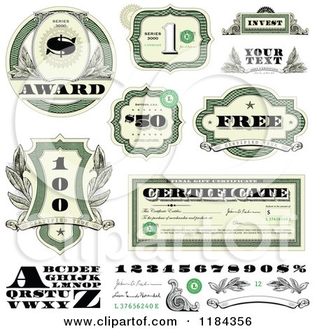 Clipart of Cash Money and Certificate Design Elements - Royalty Free Vector Illustration by BestVector