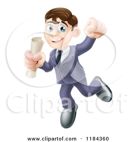 Cartoon of a Happy Young Graduate Man Jumping and Holding a Diploma - Royalty Free Vector Clipart by AtStockIllustration