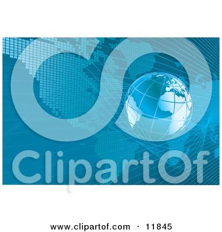 Blue Planet Earth Over a Map Clipart Illustration by AtStockIllustration