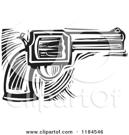 Clipart of a Revolver Pistol Black and White Woodcut - Royalty Free Vector Illustration by xunantunich