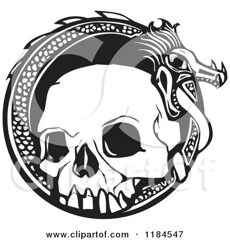 Clipart of a Black and White Woodcut - Royalty Free Vector Illustration by xunantunich