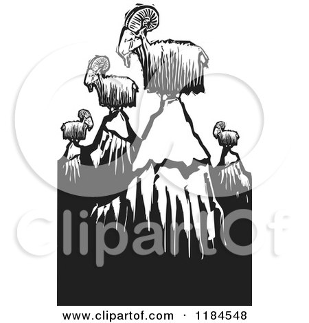 Clipart of Mountain Goats on Peaks, Black and White Woodcut - Royalty Free Vector Illustration by xunantunich
