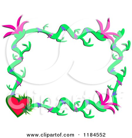 Cartoon of a Floral Frame with a Heart| Royalty Free Vector Clipart by bpearth