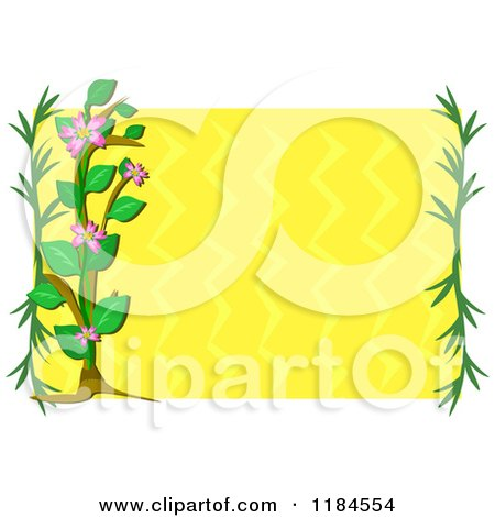 Cartoon of a Floral Frame with Branches and a Plant over Yellow Waves - Royalty Free Vector Clipart by bpearth