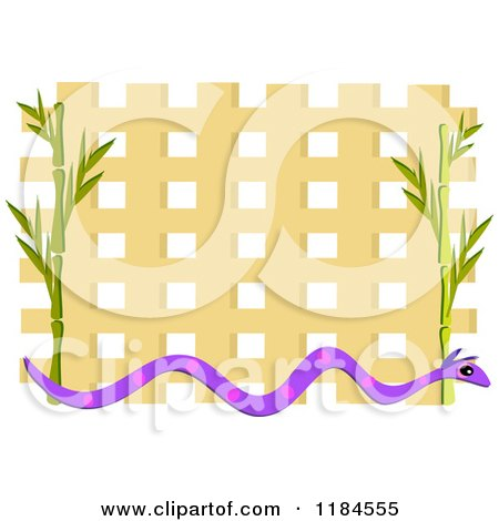 Cartoon of a Snake and Bamboo Frame over Lattice - Royalty Free Vector Clipart by bpearth