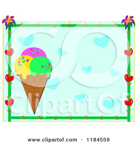 Cartoon of a Floral Heart Frame Around an Ice Cream Cone and Blue Hearts - Royalty Free Vector Clipart by bpearth