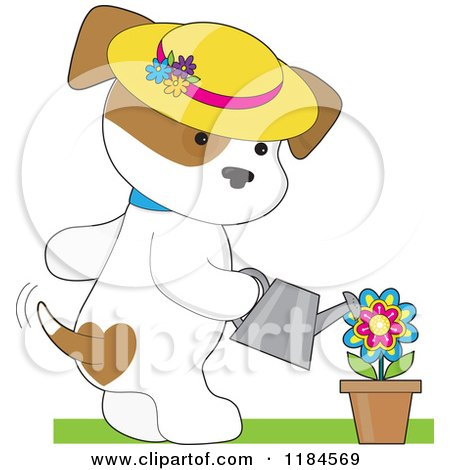 Cartoon of a Cute Puppy Wearing a Sun Hat and Watering a Potted Flower - Royalty Free Vector Clipart by Maria Bell