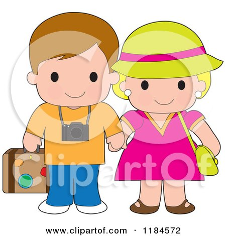 Cartoon of a Cute Happy Traveling Couple Holding Hands - Royalty Free Vector Clipart by Maria Bell