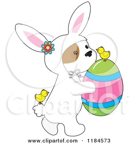 Cartoon of a Cute Puppy Wearing a Bunny Costume and Carrying an Easter Egg, with Chicks - Royalty Free Vector Clipart by Maria Bell