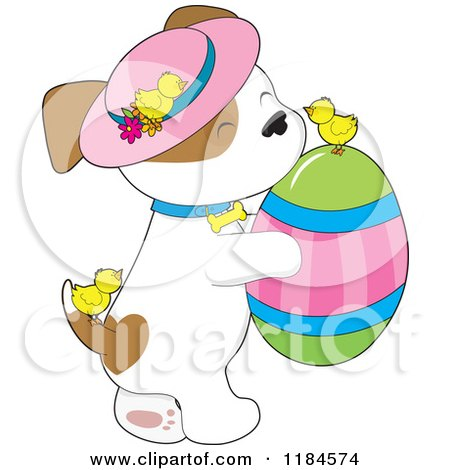 Cartoon of a Cute Puppy Wearing a Sun Hat and Carrying an Easter Egg, with Chicks - Royalty Free Vector Clipart by Maria Bell