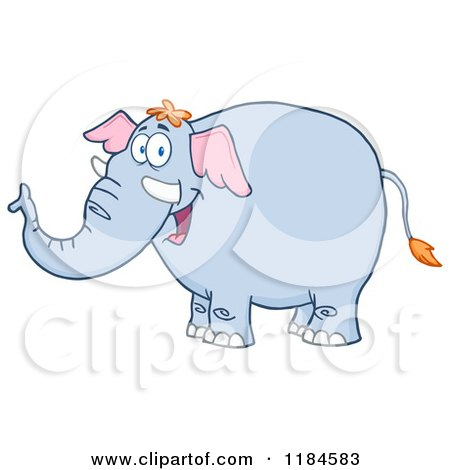 Cartoon of a Happy Elephant - Royalty Free Vector Clipart by Hit Toon