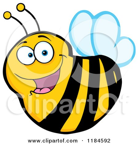 Cartoon of a Happy Bee - Royalty Free Vector Clipart by Hit Toon