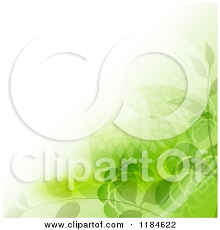 Clipart of a Background with Green Flowers and Foliage Around Copyspace - Royalty Free Vector Illustration by dero
