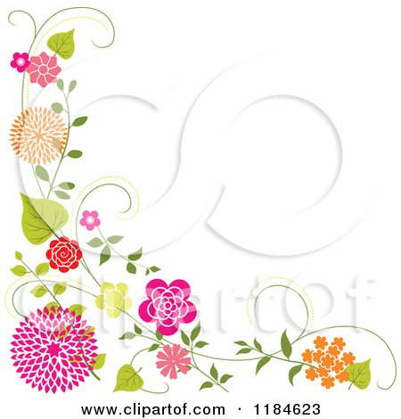 Floral Corner Border with Orange and Pink Flowers and Vines Posters, Art Prints