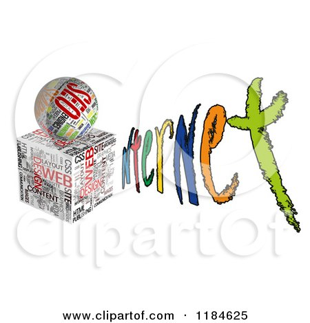 Clipart of a 3d Seo Cube and Orb Forming an I in the Word INTERNET - Royalty Free CGI Illustration by MacX