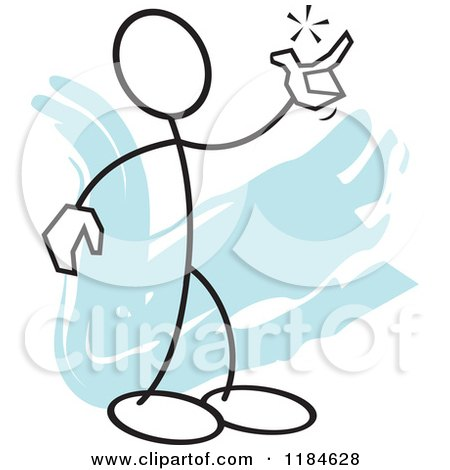 Cartoon of a Stickler Man Snapping His Fingers, over Blue - Royalty Free Vector Clipart by Johnny Sajem