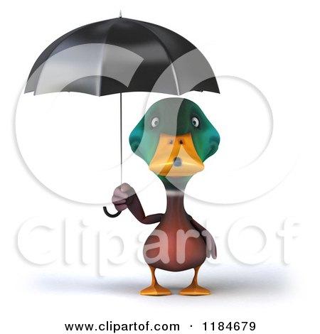 Clipart of a 3d Mallard Drake Standing Under an Umbrella - Royalty Free CGI Illustration by Julos