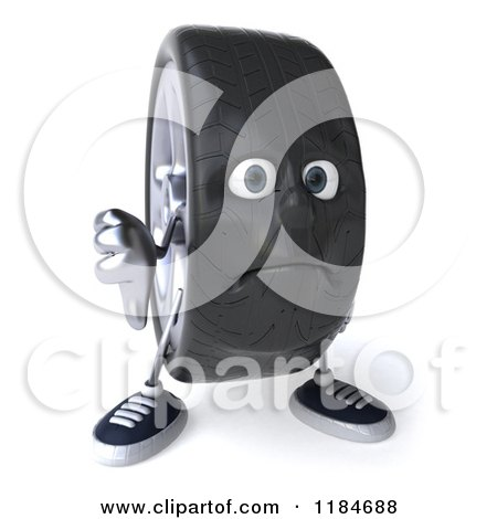 Clipart of a 3d Unhappy Tire Mascot Holding a Thumb down - Royalty Free CGI Illustration by Julos