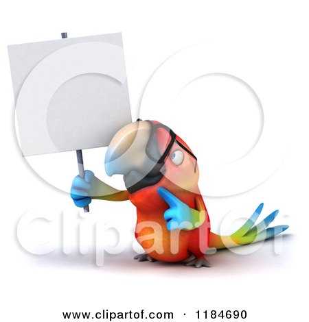 Clipart of a 3d Macaw Parrot Wearing Glasses and Holding up a Sign - Royalty Free CGI Illustration by Julos