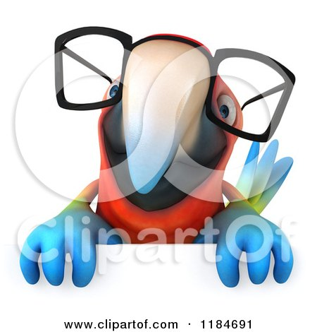 Clipart of a 3d Macaw Parrot Wearing Glasses and Holding a Sign - Royalty Free CGI Illustration by Julos