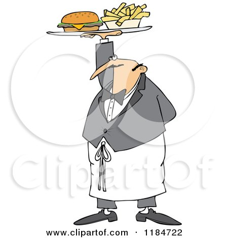 Cartoon of a Male Waiter Serving a Gourmet Cheeseburger and Fries - Royalty Free Vector Clipart by djart
