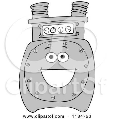 Cartoon of a Happy Gas Meter Mascot - Royalty Free Vector Clipart by djart