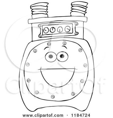 Outlined Gas Meter Mascot Posters, Art Prints