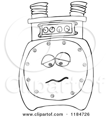 Outlined Sad Gas Meter Mascot Posters, Art Prints