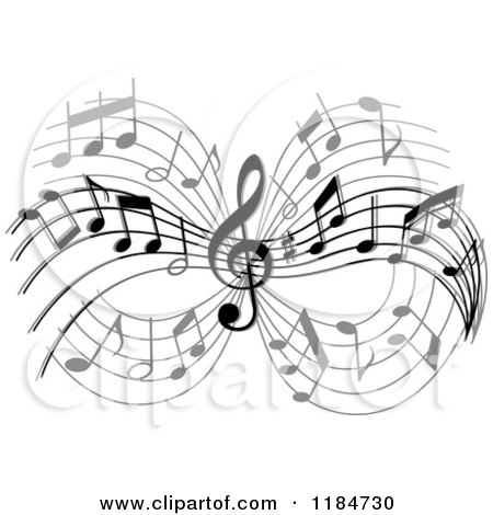 Clipart of a Grayscale Design of Music Notes - Royalty Free Vector Illustration by Vector Tradition SM