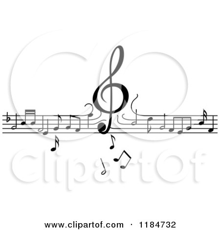 Clipart of a Black and White Border of a Clef Dropping down on Lines of Music Notes - Royalty Free Vector Illustration by Vector Tradition SM