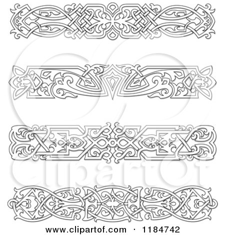 Clipart of Vintage Black and White Victorian Rule Borders 2 - Royalty Free Vector Illustration by Vector Tradition SM