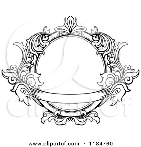Clipart of a Vintage Ornate Oval Frame with Leaves and a ...