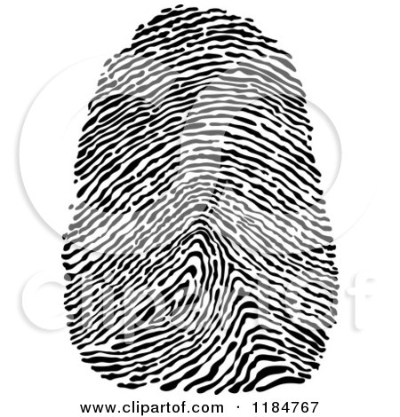 Clipart of a Black and White Finger Thumb Print - Royalty Free Vector Illustration by Vector Tradition SM