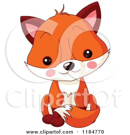 Cartoon of a Cute Baby Fox Sitting - Royalty Free Vector Clipart by Pushkin