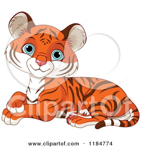 Cartoon of a Cute Tiger Cub Resting and Smiling - Royalty Free Vector Clipart by Pushkin