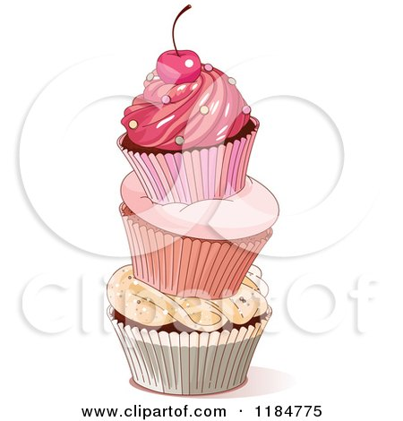 Cartoon of a Tower of Three Cupcakes Topped with a Cherry - Royalty Free Vector Clipart by Pushkin