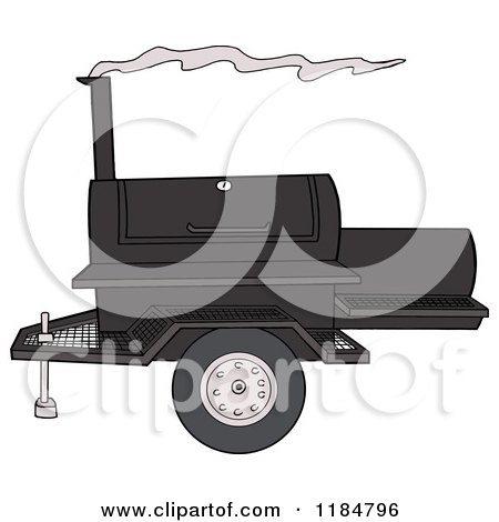 Cartoon of a Bbq Grill with Smoke - Royalty Free Vector Clipart by LaffToon
