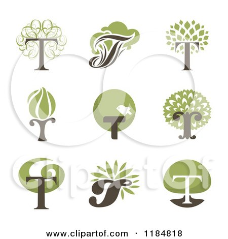 Clipart of Letter T Tree Designs - Royalty Free Vector Illustration by elena