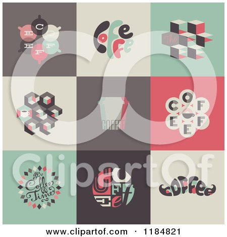Clipart of Retro Styled Coffee Designs - Royalty Free Vector Illustration by elena